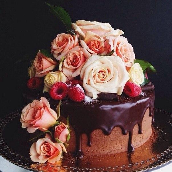 Открытки с днем рождения торт с розами